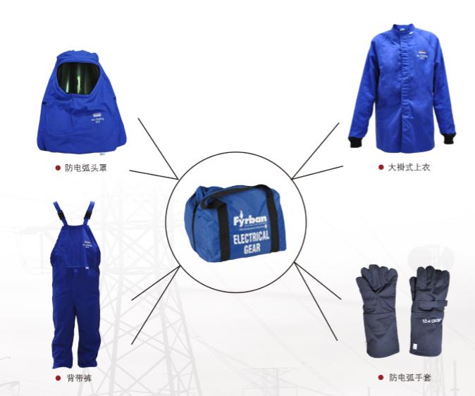 雷克兰 Lakeland 防电弧大褂防电弧背带裤防电弧手套防电弧头罩便携储藏包