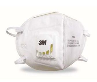 3M  9001V 环保包装折叠式耳戴式带呼吸阀防护口罩