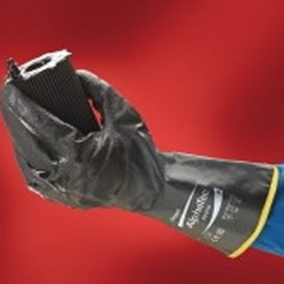 安思尔 Ansell 特殊防滑防化丁腈涂层,带无缝棉内衬,黑色,305mm长
