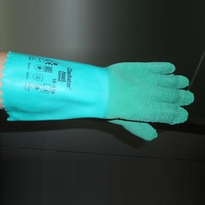 安思尔 Ansell 绿色天然橡胶带内衬手套16-650-9