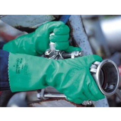 安思尔 Ansell 带棉内衬绿色丁腈手套,31cm长