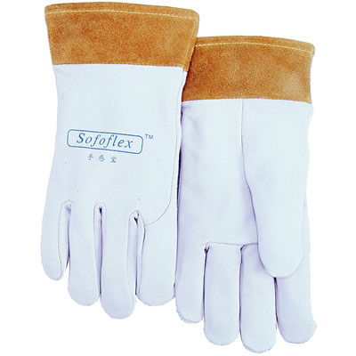 Spc Spc 手感宝氩弧焊TIG手套白色羊青皮短袖筒款,货号:10-1008,尺码:L-XL